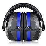 Fnova イヤーマフ 防音 遮音値34dB プロテクター 折りたたみ式 フリーサイズ 大人&子供用 自閉症 聴覚過敏 騒音対策 射撃 等様々な用途に (青)