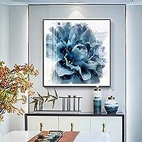 JIAJIA パーソナリティシンプルな正方形の青いバラ模様のマット紙材料は、部屋のベッドルームのダイニング壁画を描く生活壁画を装飾します 味わい深い (Size : 50*50)