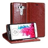 LG G3ケース, GMYLE 財布ケースシンプルLG G3専用- ブラウンクレージー?ホース PUレザースタンド手帳型ケースカバー(カードスロットやマネーポケット付き)