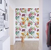 Wallpaper, Wall Murals - 壁紙, 壁の壁画 (Watercolor, Floral Skulls, Wallpaper Mural, Wallpaper - 水彩、花の頭蓋骨、壁紙壁画、壁紙, 130 x 275 cm - 51.18 x 108.26 inches)