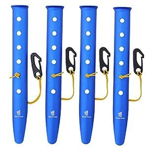 GEERTOP テントペグ アルミニウム製 ビーチ キャンプ 雪 バックパック旅行 ハイキング用 ネイル コードとフック付き (ブルー, 31 cm)