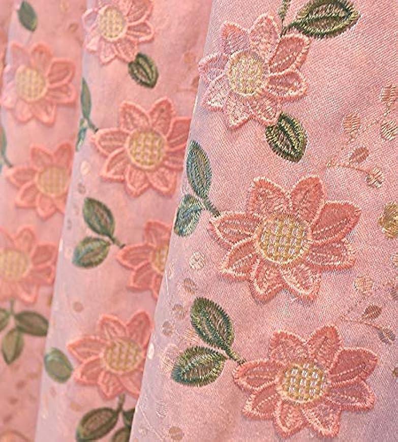 スツール妻勃起姬系 粉色布 花柄 カーテン2枚組 - 幅150x丈230 CM -雪尼尔 遮光 隔热 ピンク ドレープ,オーダーサイズ可