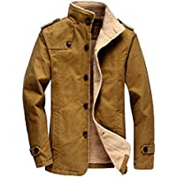 Vcansion Men's Winter Fleece Windproof Jacket Wool Outerwear Single Breasted Classic Cotton Jacket Coats Bronze