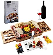 hecef Acacia Wood Cheese Board Set, Square Cheese Platter with 2 Slide-Out Drawers& Cutlery Set& Snack