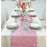ACHICOO 装飾 パーテ テーブル飾り 食卓飾り 装飾 プレースマット スパンコール テーブルランナー 無地 工芸 ギフト品 お食事マット 高密度 おしゃれ 高級感 結婚式 披露宴 ピンク