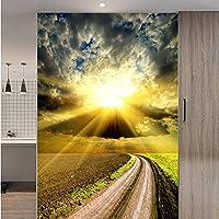 Xbwy 大きなドア壁画ロール草原日没自然3D壁紙壁画ロールスロイス3 Dリビングルームの壁紙壁紙-150X120Cm