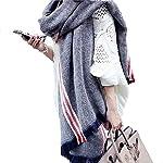 Bubble 秋冬 マフラー ストール ストライプ柄 カシミヤコットン質 大判 厚手 可愛い 大きめショール ロングスカーフ バリフリンジ レディース女性ガールズ (ライトブルー)
