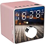 Alarm Clock Radio Wireless Bluetooth Speaker Bedside Alarm Clocks Dual Alarm Clock FM Radio One-Click Recording LED Display Sleepers Home Bedroom Kitchen Office Kids (Pink)