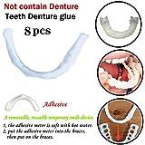 8ピースシリコン偽歯科義歯カバー一時的な笑顔快適なフィット美義歯義歯接着剤