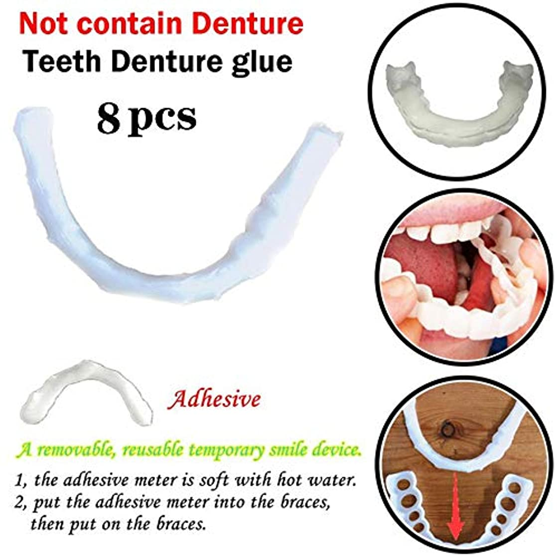 アジテーションリーくびれた8ピースシリコン偽歯科義歯カバー一時的な笑顔快適なフィット美義歯義歯接着剤