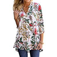 Jessica CC Women's Paisley Floral Print V Neck Tunic 3/4 Sleeve Blouse Shirt Tops