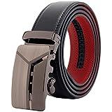 (マックベルト) MACBELT 穴無し スライド式 メンズ 本革 ベルト 簡単 ウエスト調整 お好みの長さに調節可能 ロングサイズ 【 説明書&オリジナルBOX付 】 130cm ブラックレッド MBR-119