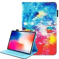iPad Pro 11 2018 ケース、[ペンホルダー] Painted 高級 レザーTPU内側 [磁気閉鎖] オートスリープスタンド機能 財布型 手帳型Apple iPad Pro 11 2018用(星空)