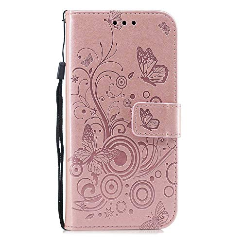 OMATENTI Galaxy A8 2018 ケースPUレザー 財布型 ケース高級感 人気 花柄付き 落下防止 衝撃吸収 ウォレット型 カバー カード収納付, 対応 Galaxy A8 2018 カバー,ピンク