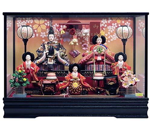 吉徳 雛人形 ケース入り五人飾り 間口63×奥行38×高さ45cm ガラスケース 322288
