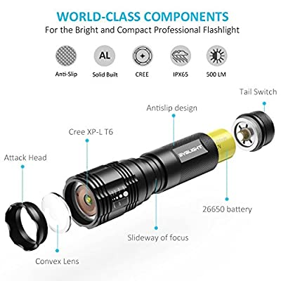 BYBLIGHT LED Tactical Flashlight, 800-Lumen Torch Zoomable 5 Modes Water Resistant LED Light with Rechargeable 26650 Battery, USB Charger and Holster, Ideal for Outdoors, Home, Emergency or Gift-Giving