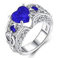 Impression 1X 指輪 フリー サイズ クリスタル ハート 誕生日 記念日 結婚式 婚約 手飾り プレゼント ファッション シンプル レディース (E)
