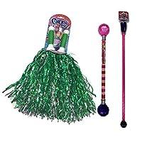 Cheerleaderバンドルコンボwith Pom Poms、Twirlingクリスタルバトンとキラキラバトン。色は異なる場合があります。パーティ誕生日記念。a9