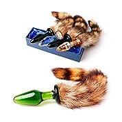 Pakito(TM) フォックステールキャットテールバットプラググラスアナルディルドー大人のセックスのおもちゃとセックス製品ガラスアナルプラグ、アナルおもちゃ