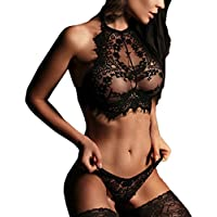Women Sexy Lingerie Lace Sleepwear Set Floral Push Up Top Bra Low Waisted Pants Underwear Lingerie Mesh Nightgown, 2 Colors