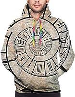 メンズスウェットクロックローマンディジットタイムスパイラルヴィンテージパーカーグラフィックプルオーバーパーカーフード付き服ポケット