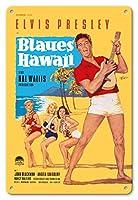 22cm x 30cmヴィンテージハワイアンティンサイン - ブルーハワイでエルビス・プレスリー - ビンテージなフィルム映画のポスター によって作成された ロルフ・ゲッツェ c.1961
