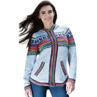 Gamboa - Alpaca Hooded Cardigan - Grey with Colorful Details