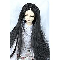 Linfairy 8-9 inch 1/3 サイズ ドール用 ウィッグ フィギュア 人形用 sd 真ん中分 黑長い髪