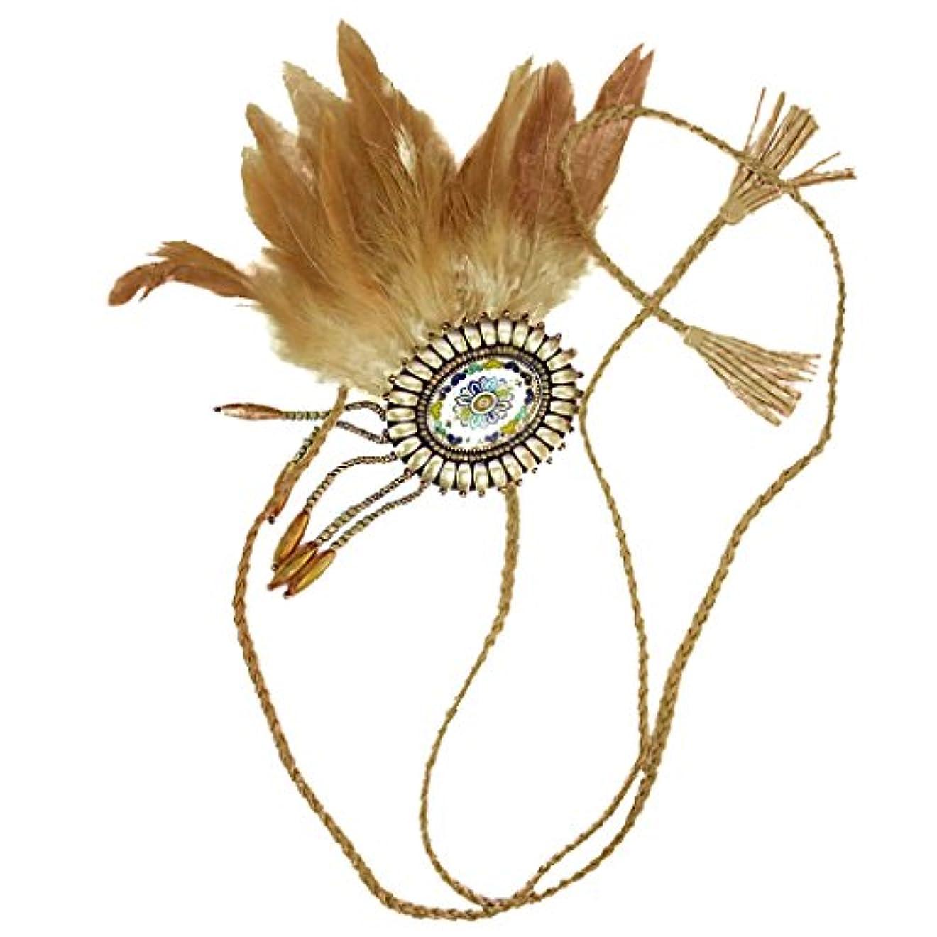 反発する未使用代理人Dovewill 復古 ボヘミアン ヒッピー インディアン 羽付き ヘッドバンド 編みロープ カクテル 宴会 ヘッドピース 全2色 - ブラウン