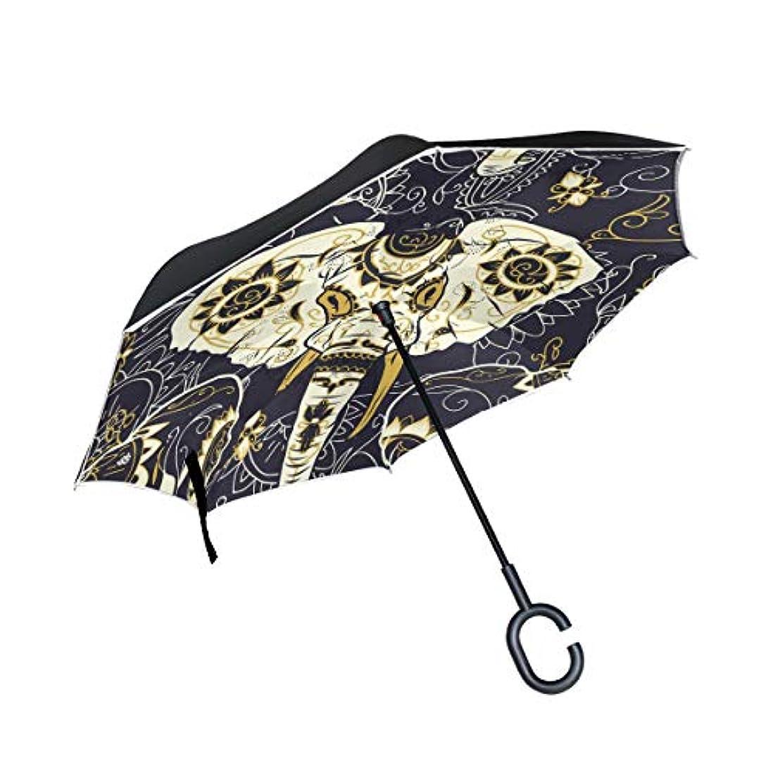 方向キャベツカーテンSoreSore(ソレソレ)逆さ傘 逆折り式傘 長傘 日傘 手離れ C型手元 UVカット 晴雨兼用 車用 メンズ レディース 男女兼用 象 エレフェン 民族風 髑髏 梅雨対策 遮光遮熱 おしゃれ かわいい
