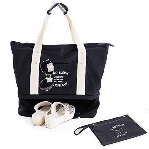 Flinellife 多機能旅行バッグ シューズ収納 特大サイズトートバッグ 大容量 ショルダー マザーズバッグ 軽量 防水 スポーツトートバッグ (ブラック)