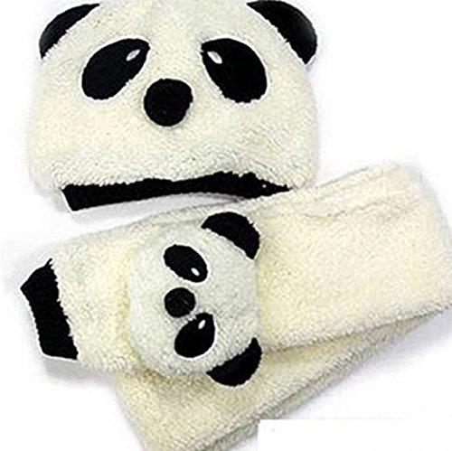 可愛い パンダ ふわふわ 帽子 マフラー セット 子供 ベビー (2.アイボリー)