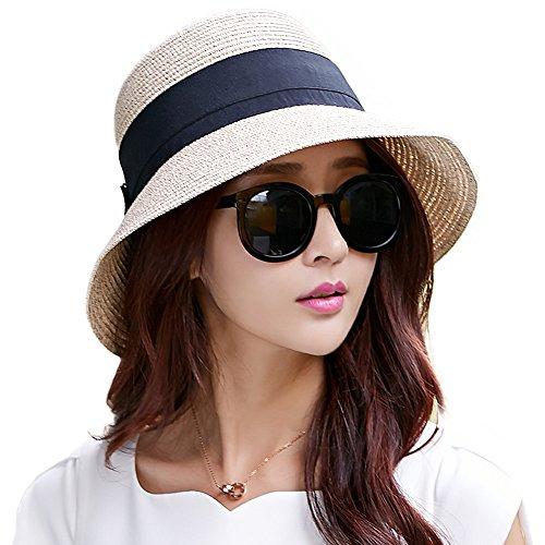 麦わら 帽子 レディース 夏 ラフィア ストロー ハット 婦人帽子 つば広 uvカット 折りたたみ かわいい 大きいサイズ 56cm 57cm 58cm 自転車 ベージュ