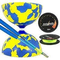 Jester Medium Diabolo Yellow/Blue with Blue Superglass Diablo Sticks & Accelerate Diabolo String [並行輸入品]