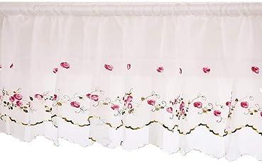 ZHHフローラルウィンドウ二層ハンドメイド飾り布刺繍カフェカーテン、ピンクのローズ柄ホワイト幅230cm×丈40cm