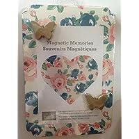 """磁気MemoriesボードのVictorian Floral Design with 2つバタフライマグネット写真Holds up to 4x 6"""" and has a backスタンドFold Out"""