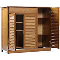 YNN 3層の竹の靴のキャビネット木製の靴のラック引き出しのポーチのドアのキャビネット