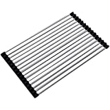 Foldable Roll Up Dish Drying Rack Multipurpose Over The Sink Drainer Rack Kitchen Draining Board (S(23X47CM))