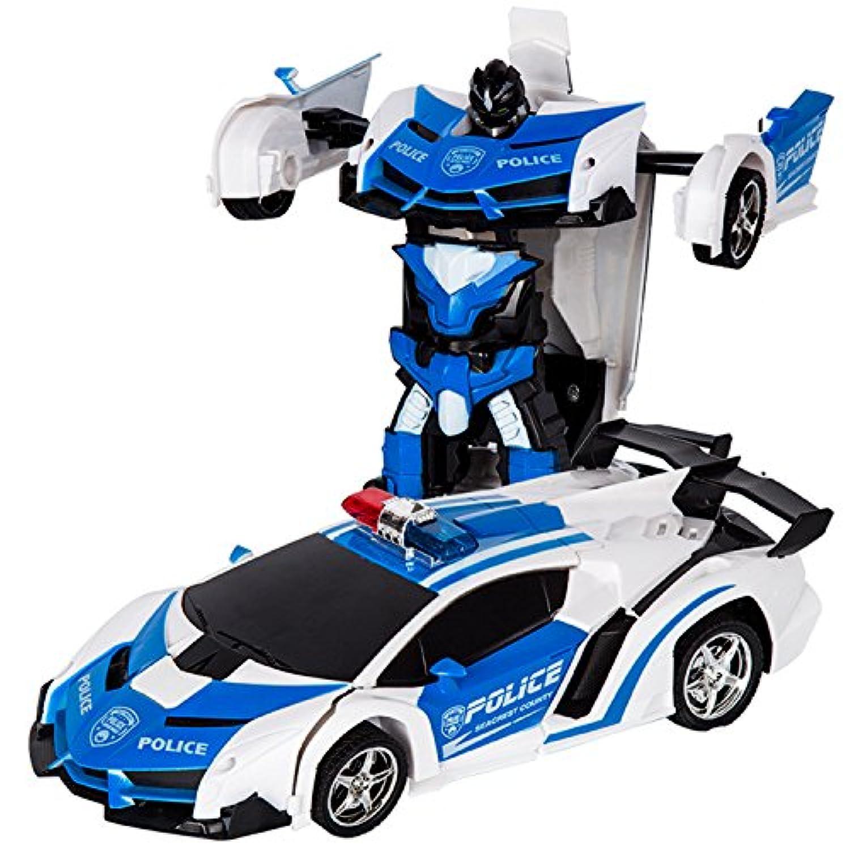変形玩具車 リモコンカー ロボット ラジコン 遠隔操作 変形することができる 子供の好きなギフト (靑い) [並行輸入品]