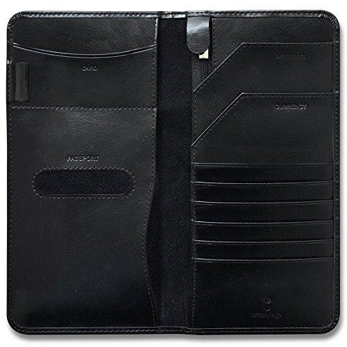 ottostyle.jp 牛革 カウレザー パスポートケース 【ブラック】大きいサイズ 財布 海外旅行 旅券 チケット 名刺入れ 大きいサイズ