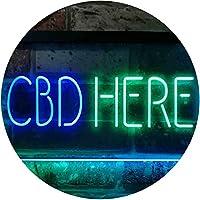 "CBD Here Shop Wall Décor Store Display Dual LED看板 ネオンプレート サイン 標識 Green & Blue 300mm x 210mm"" st6s32-i3196-gb"