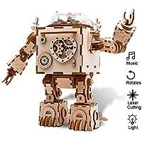 Eggschale オルゴール 3Dパズル 木製クラフト ロボットおもちゃ ライト付き クリエイティブギフト MY-Y1