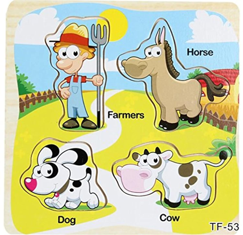 YChoice 知育パズル キッズ 木製パズル 教育学習玩具 素晴らしいギフト 子供(農場動物)