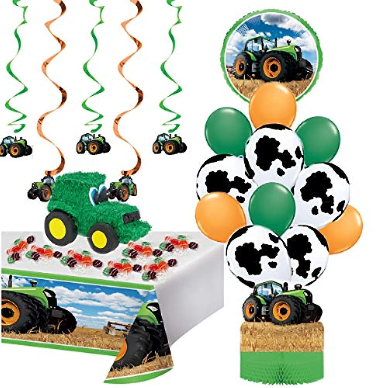 農家とトラクターのパーティー用品が詰まったトラクターピニャータ | 20ピースキット 誕生日パーティーセット 印刷可能なトラクター/ファーム誕生日招待状 写真フレーム 誕生日チェックリスト ゲームアイデア | スタイル3