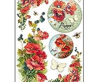 米紙のポピーの花,Stamperia A4デコパージュ味の趣味、色、DFSA4174