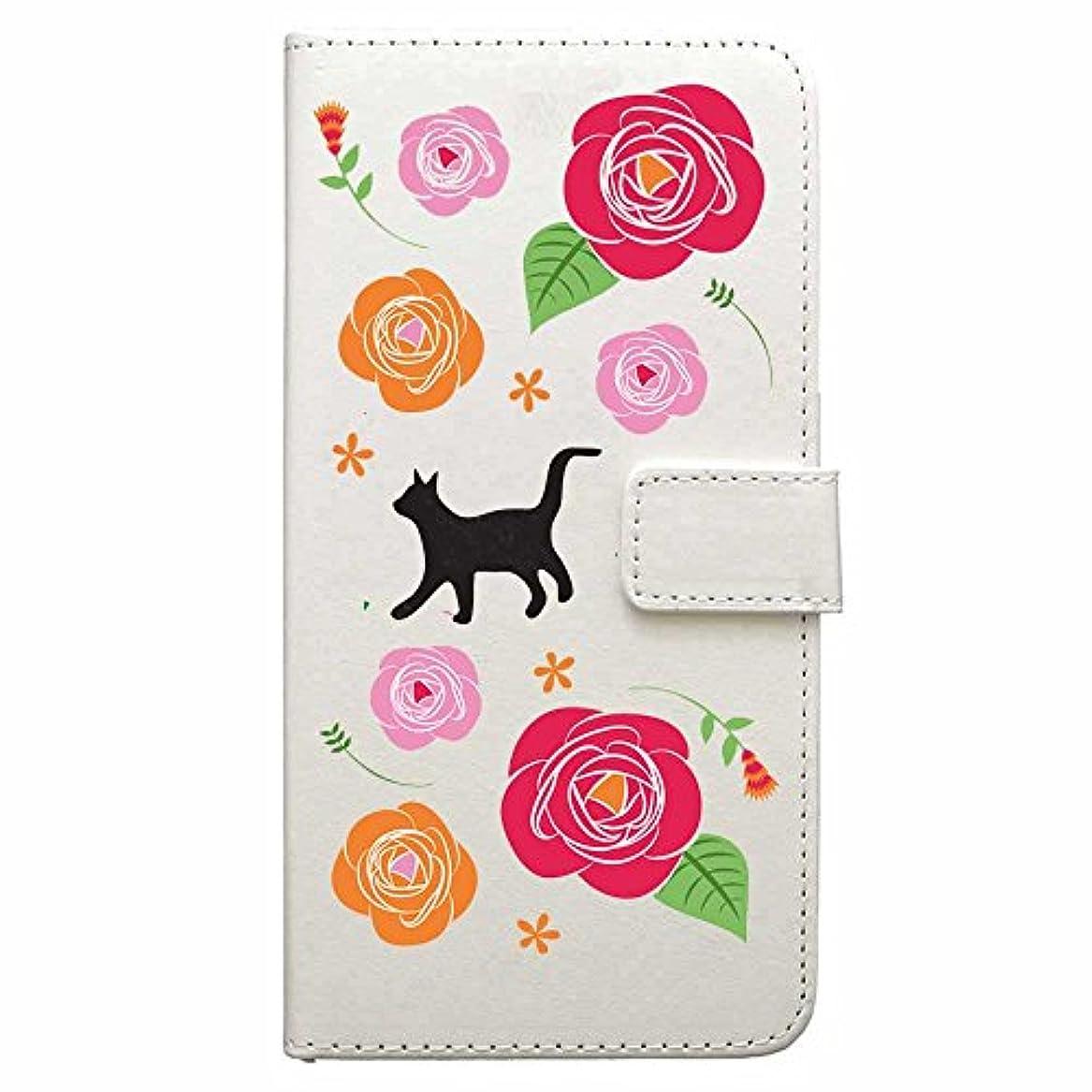 追記転倒クラックiPhone7 ケース 手帳型 ストラップホール付き カメラホールあり ホワイト ねこ好き向け 薔薇園 888-61177
