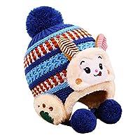 帽子 2〜4歳の子供用帽子 こども子 漫画 猿 耳の保護 編み物 クラシック カラーマッチング プラスベルベット 暖かくしてください ウールキャップ