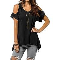 Petalum Women Short Sleeves Tops Cold Shoulder V-neck Tees Solid Black T-Shirt Wide Hem Design Blouse