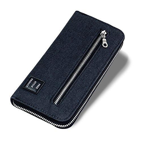 PANDORA(パンドラ) 長財布 メンズ ラウンドファスナー 財布 取り出しやすい 改良版 小銭入れ カード14枚収納 全3色 【正規品】 PW-007 (BLACK)