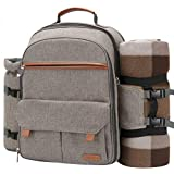Sunflora Picnic Backpack for 4 Person Set Pack with Stainless Steel Flatwares and Insulated Waterproof Pouch for Family Outdoor Camping (Brush Beige)